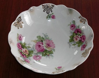 Beautiful Vintage China Serving Bowl with Pink Peony Roses Made in Germany