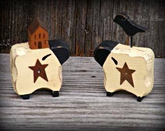 Wooden Miniature Sheep Shelf Sitters ~ Primitive Home Decor ~ Primitive Sheep ~ Folk Art Sheep ~ Farmhouse Decor ~ Sheep Decor ~ Country