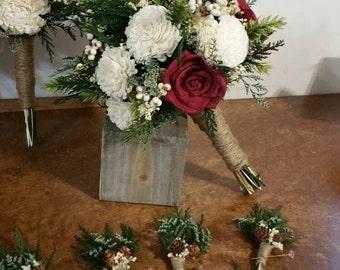 Wedding Bouquet, Sola wood Bouquet, Woodland ivory Bouquet, winter red Bridal Bouquet, Sola flowers, Alternative Bouquet, Rustic Handmade