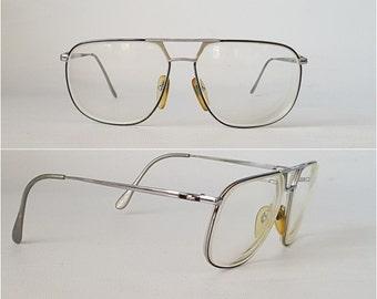 Vintage LACOSTE L'AMY Aviator Glasses • Vintage 70s 80s Large Oversized Silver & Black Metal Eye Glass Frames