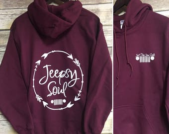 Just For Jeep Girls Logo Hoodie {Jeepsy Soul} -  Adult Heavyweight Hoodie
