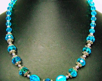 Blue Crystals and Iridescent Moon and Stars Coin Glass Beaded Necklace - Item 291