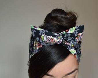 skulls Hair Bow, skulls Bow, Style Dolly Bow head band