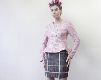 Vintage brown grey plaid wool high waist pencil mini skirt S