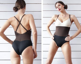 Vintage black brown white panel color block criss cross back one piece pool beach swimsuit S