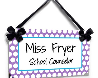 personalized school counselor classroom door sign - white purple and blue polka dots - graduation gift - P2510