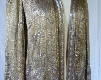Vintage Rare French art deco gold lame jacket beaded detail 20's couture label initials ? D.H. 4, Rue de la Paix, Paris