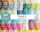 60% SALE SALE Damask Digital Papers 2 - Rainbow Damask Papers - Damask Scrapbook Papers - Huge Paper Pack- INSTANT Download