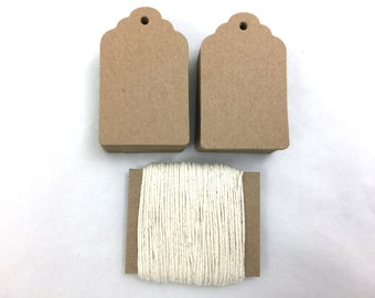 """Scalloped Hang Tags - Kraft Brown - 100 Count - 3 1/4"""" x 2"""" 146 LB Paperweight"""