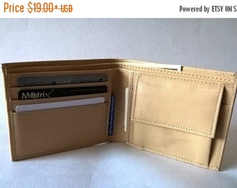 CHRISTMAS SALE Beige, light brown, coffee Leather wallet, coin pocket, italian purse, mens embossed wallets, grooms Men gift, gift for him,