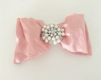 Rosewater pearl jeweled vintage bow- hair bow- flower girl- bridal
