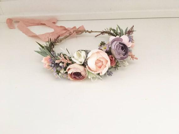 Blushing lilac flower crown- Flower crown-Floral crown- Bridal Blush Crown- Flower Girl- Spring Wedding- Well Dressed Wolf- Dollcake