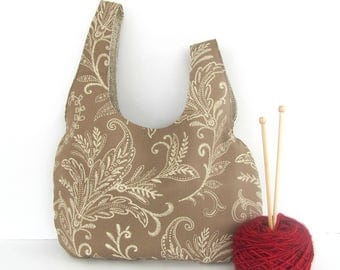 Knot bag, Knitting project bag, Lacy Fern Taupe Knitter's gift, Market or Diaper Bag