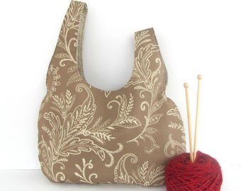Large Knitting Bag, Big Project Bag, Crochet yarn bag, knitting accessories, gift for knitters  Taupe Ferns