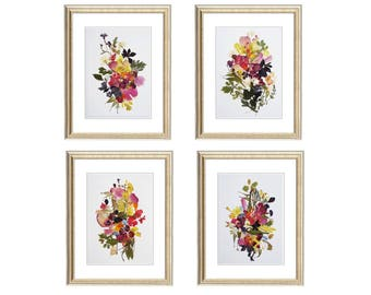 Set of 4 prints 8x10 Botanicals Prints Herbarium Pressed flower art botanical print set Dried flowers wall art plant set floral triptych
