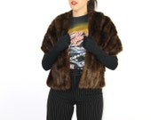 Mink Fur Stole - Shrug Cape Glamorous Brown Fur Capelet SABLE STOLE Pelt STRIPE Layered Cape Capelet Stole Shawl Shrug 1950 50s Mid Century