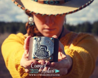 Live Your Wild Pronghorn Antelope Western Leather Cuff