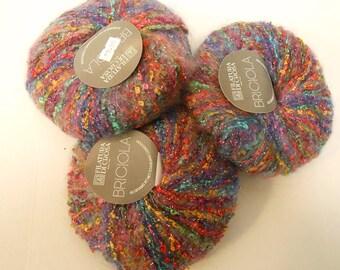 de stash yarn 3 skeins BRICIOLA multi color mohair rayon