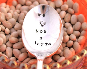 Stamped Spoon Vintage CHRISTMAS GIFT - we (heart) you a latte - Southern Splendor - 1962 - Ready To Ship & Made in USA - Gift Under 20
