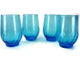 Vintage Blue Juice Glasses Set of 4
