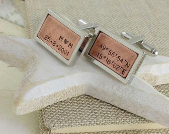Personalised cufflinks, anniversary gifts,custom coordinates, husband gift, gift for men,  cufflinks, custom cufflinks, mens gift, gift