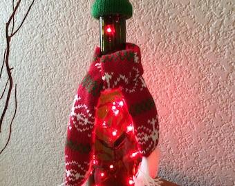 Wine Bottle Light, Christmas, Red Christmas Light, Christmas Decor, Christmas Gift, Wine Bottle, Christmas Light, Light, Wine Gift, Scarf.