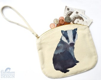Badger Canvas Zip Purse, Makeup Bag, Coin Purse, Small Accessory Pouch