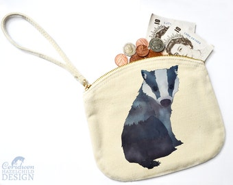 Badger Canvas Zip Purse, Makeup Bag, Coin Purse, Small Accessory Pouch, Stocking Filler, Badger Gift