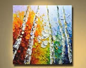 Original Abstract Painting Modern Thick Textured Painting Impasto Landscape Textured Modern Palette Knife Painting, on Canvas by Chen 0516