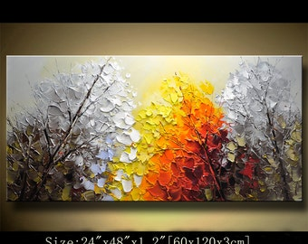 contemporary wall art, Palette Knife Painting,colorful tree painting,wall decor  Home Decor,Acrylic Textured Painting ON Canvas by Chen 0224