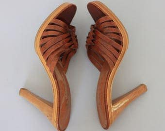 Boho Mules Wood Heel Sandals 5 Brown Woven Leather Sandals Nine West Slip on Sandal Wood Platform Sandal Hippie Sandal High Heel Sandals