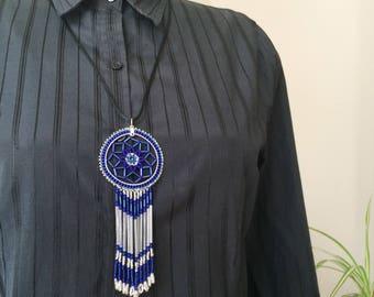 Cobalt Blue - Beaded Dream Catcher - Pendant Necklace