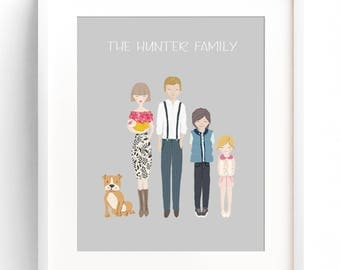 Family Portrait Illustration Custom Family Portrait Drawing Personalized Family Name Print Custom Family Cartoon Housewarming Gift Wedding