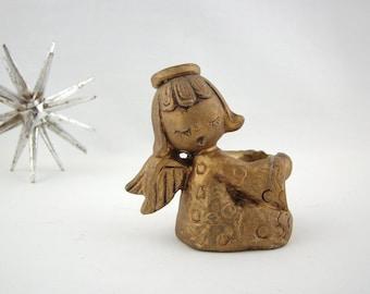 Vintage Gold Resin Angel Candleholder, Mid Century Christmas, Holiday Decor