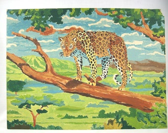 Vintage Paint By Number Leopard Painting, 1960s
