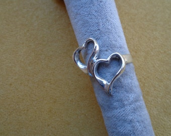 Double heart ring.925 silver.