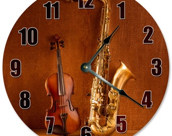 "SAXOPHONE AND VIOLA Clock - Large 10.5"" Wall Clock - 2176"