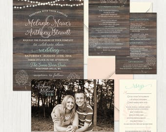 Country Chic Wedding Invitations with woodgrain, light strands, pink and mint.  Full wedding invitation suite, custom paper design