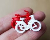 Vintage Bicycle Brooch Red White Plastic Pin