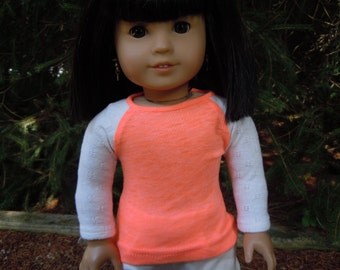 Baseball t-shirt to fit 18 inch or american girl doll