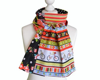 Bohemian chic scarf , One of a kind boho scarf, patchwork of cotton fabrics, made in paris