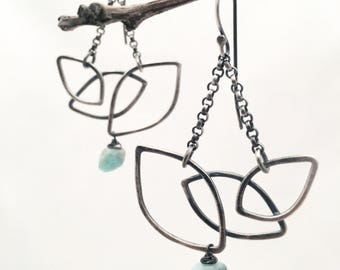 Coca Kintu #2 ~ sterling silver and Peruvian Opal earrings ~ limited edition earrings