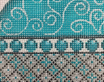 "Hand Painted Needlepoint Canvas Silver Teal Black 18 Count 4"" Ornament"