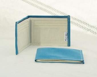 Recycled Sail Wallet, Sky Blue, Upcycled Canvas, Sailcloth Billfold