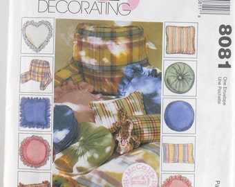 Vintage McCalls Easy Home Decorating Pattern Number 8081 Pillow Essentials 10 Decorative Pillows Sewing Pattern McCalls Home Center Destash