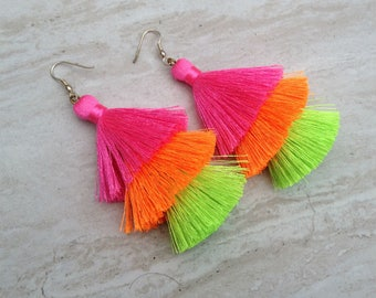 Silk Tassel Stack Earrings Neon Ombre Combo Tassle Earrings Festival Tassel Earrings Tassle Earings BOHO Earrings Summer Jewelry