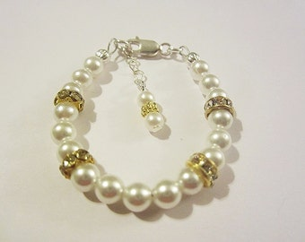 Sterling silver filled baby girls pearl and rhinestone bracelet