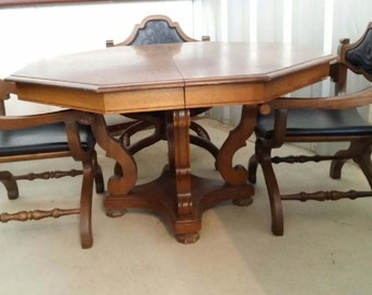 Nina Perry Hexagonal Game Table With 4 Campaign Style Chairs By Bassett  Furniture Company