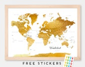 Custom World Map Art Print Poster Watercolor Brown Gold Political Map - Capitals - USA states Travel Map World Map - Summer Gift Idea