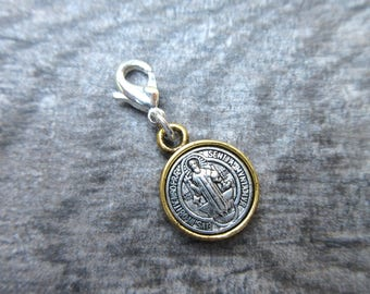 St. Benedict Clip-On Charm Tibetan Silver and gold tone medallion with lobster clasp zipper pull, bracelet charm, planner charm, purse charm